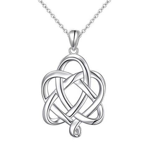 S925 Sterling Silver Good Luck Irish Heart with Triangle Celtic Knot Pendant Necklaces