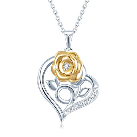 Rose Flower Heart Necklace