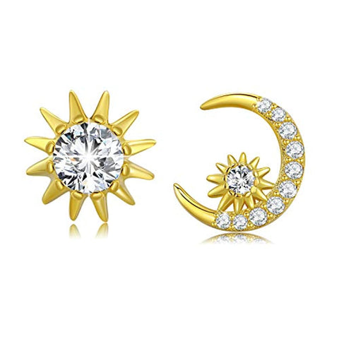 ilver Sun Crescent Moon Star Stud Earrings