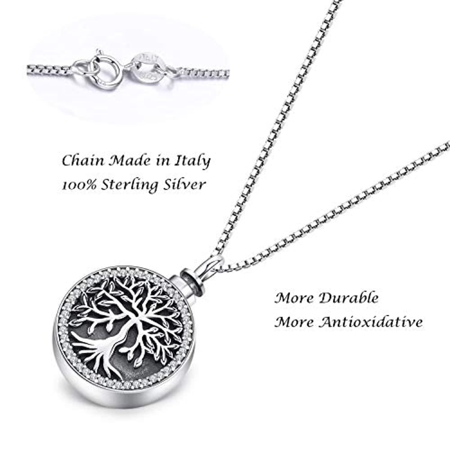 S925 Sterling Silver Necklace for Memorial Ashes, Tree of Life Pendant for Ashes Jewelry- You Always in My Heart