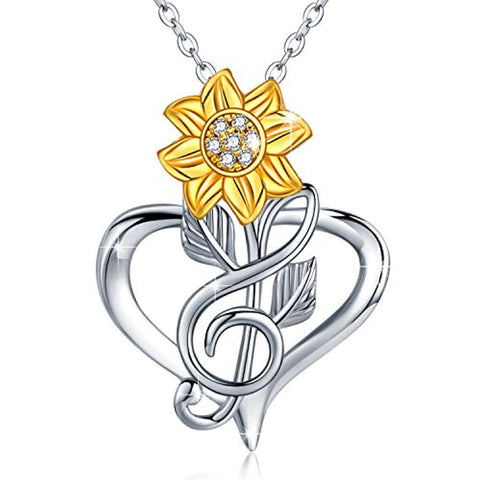 Silver  Sunflower Heart Pendant Necklace