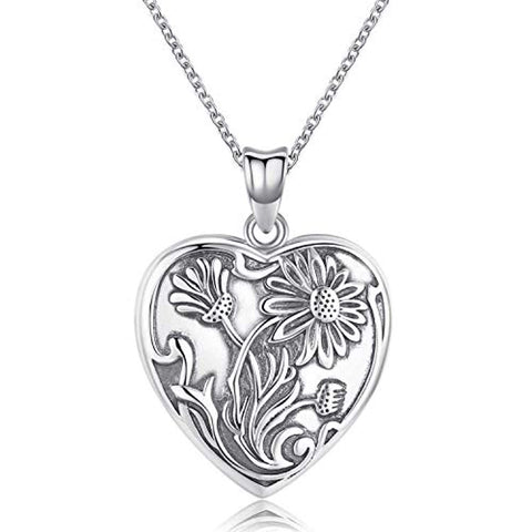 Locket Necklace That Holds Pictures Sun Flower 925 Sterling Silver Photo Heart Lockets Necklace for Women.