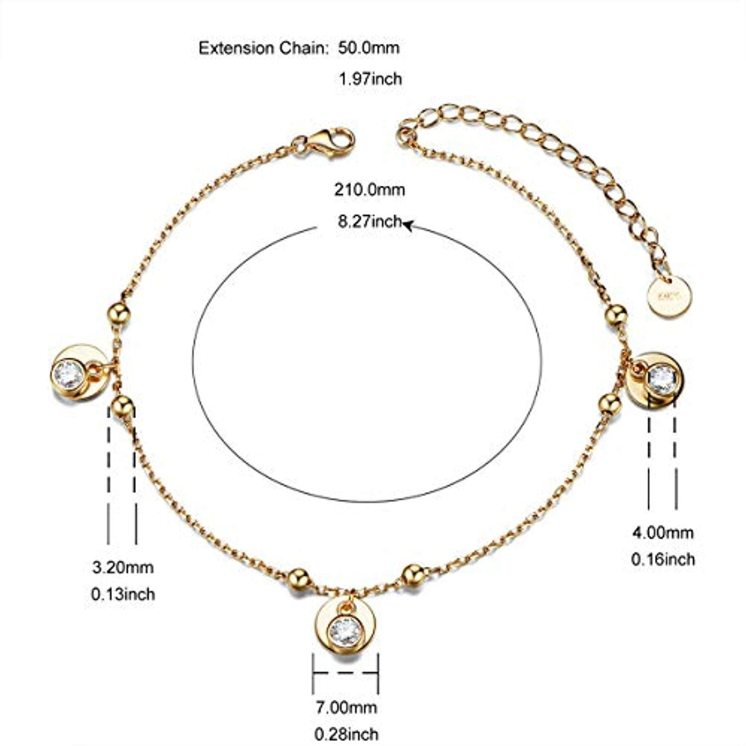 925 Sterling Silver With Zirconia Adjustable Anklet For Women Gift For Women
