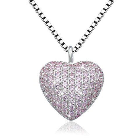 Silver Urn Pendant Jewelry CZ Heart Cremation Necklace