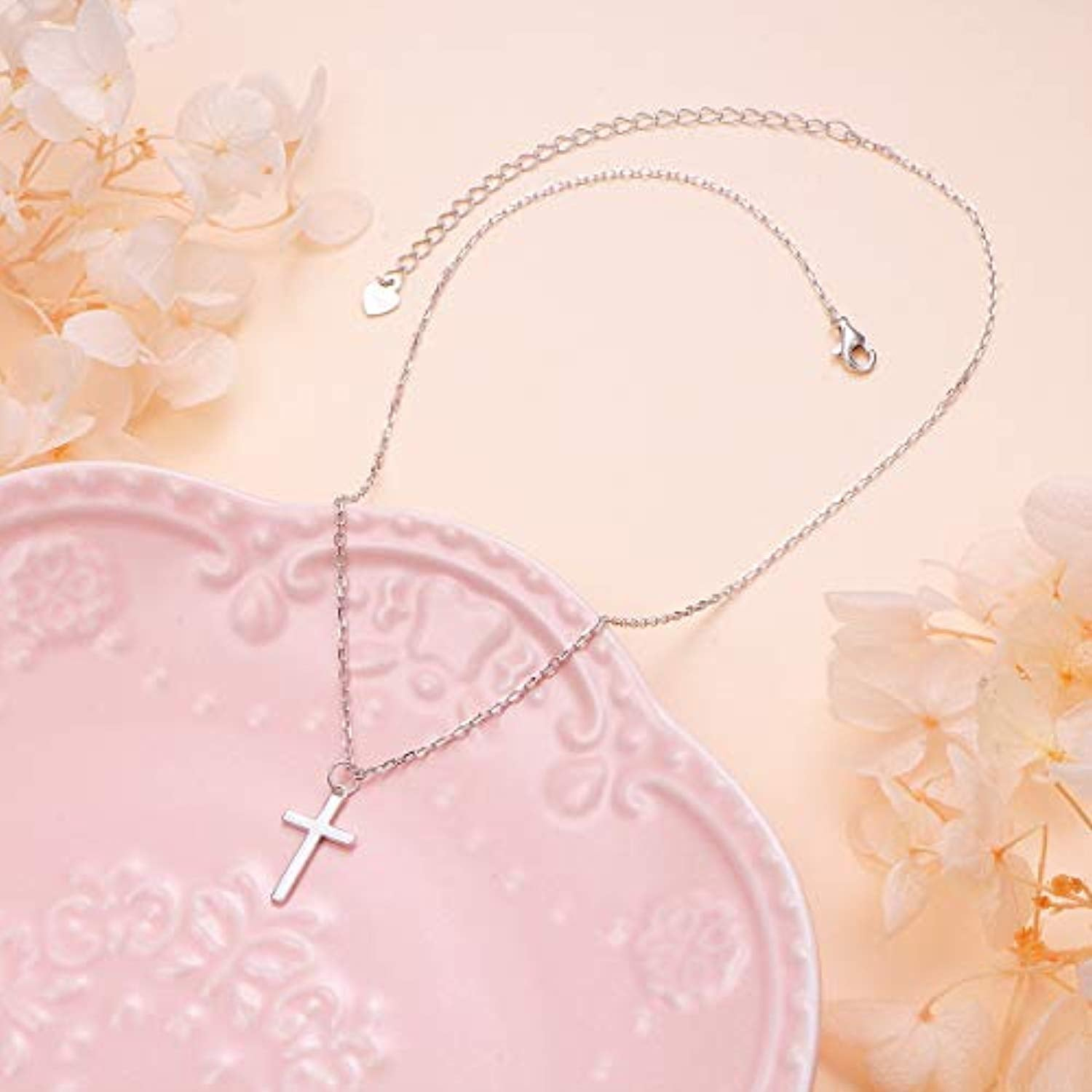 S925 Sterling Silver Small Cross Pendant Necklace