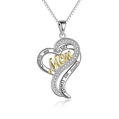 Silver Always my mother forever my friend Pendant Necklace