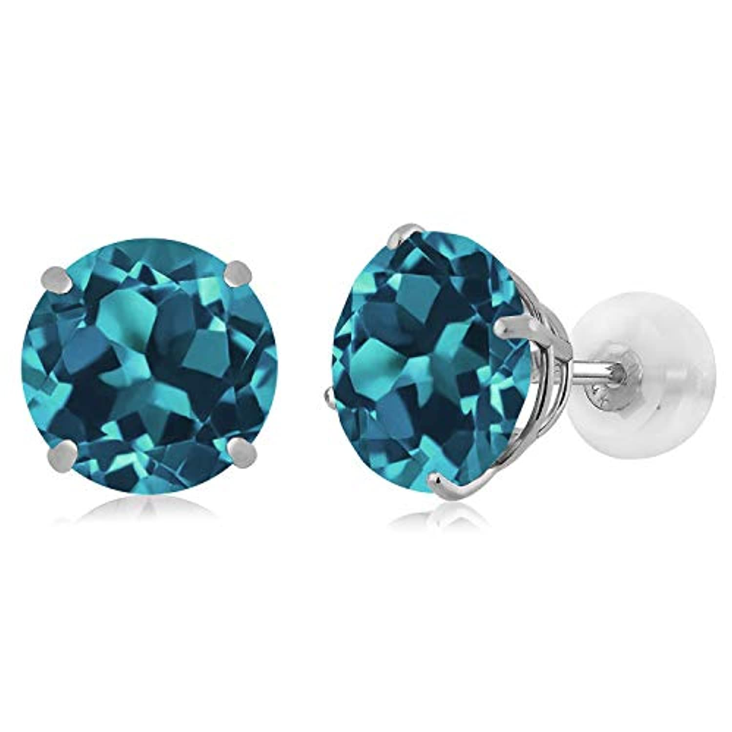 14K Gold Blue Topaz Stud Earrings