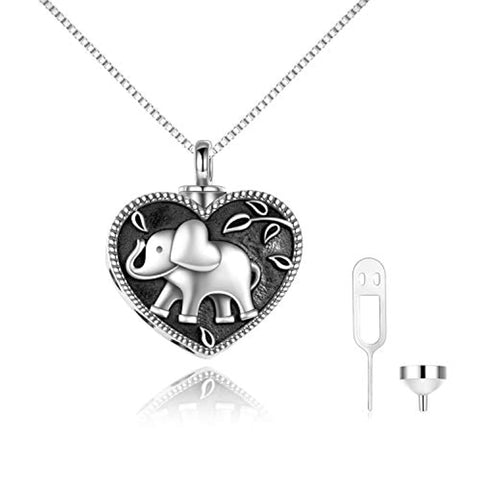 Silver Heart Elephant Urn Necklace