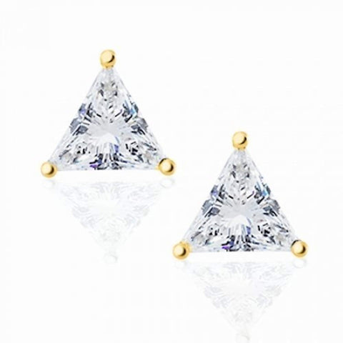 Triangle Shaped Cubic Zirconia Basket Set Trillion Cut CZ Stud Earrings 14K Gold Plated 925 Sterling Silver
