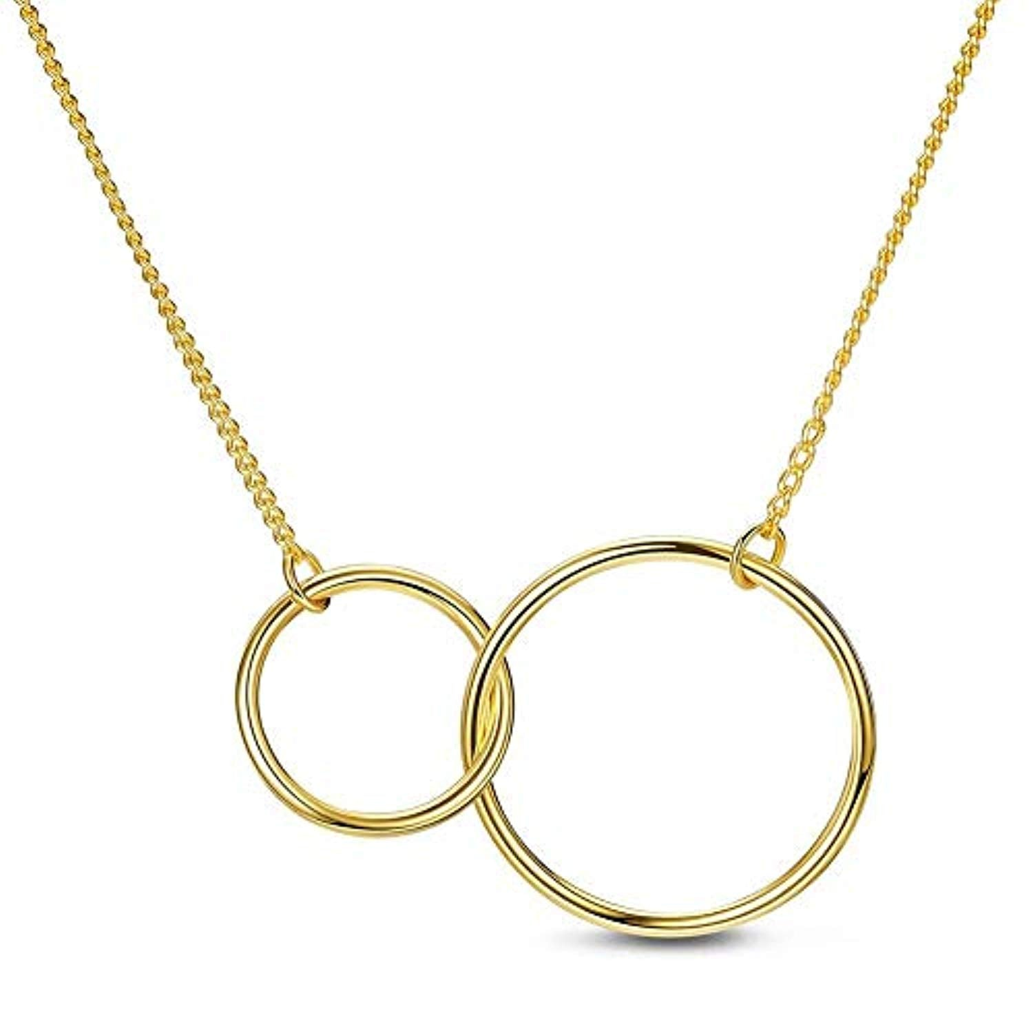 Sweetiee Sterling Silver Necklace Two Interlocking Infinity Double Circles Eternal Love Necklace