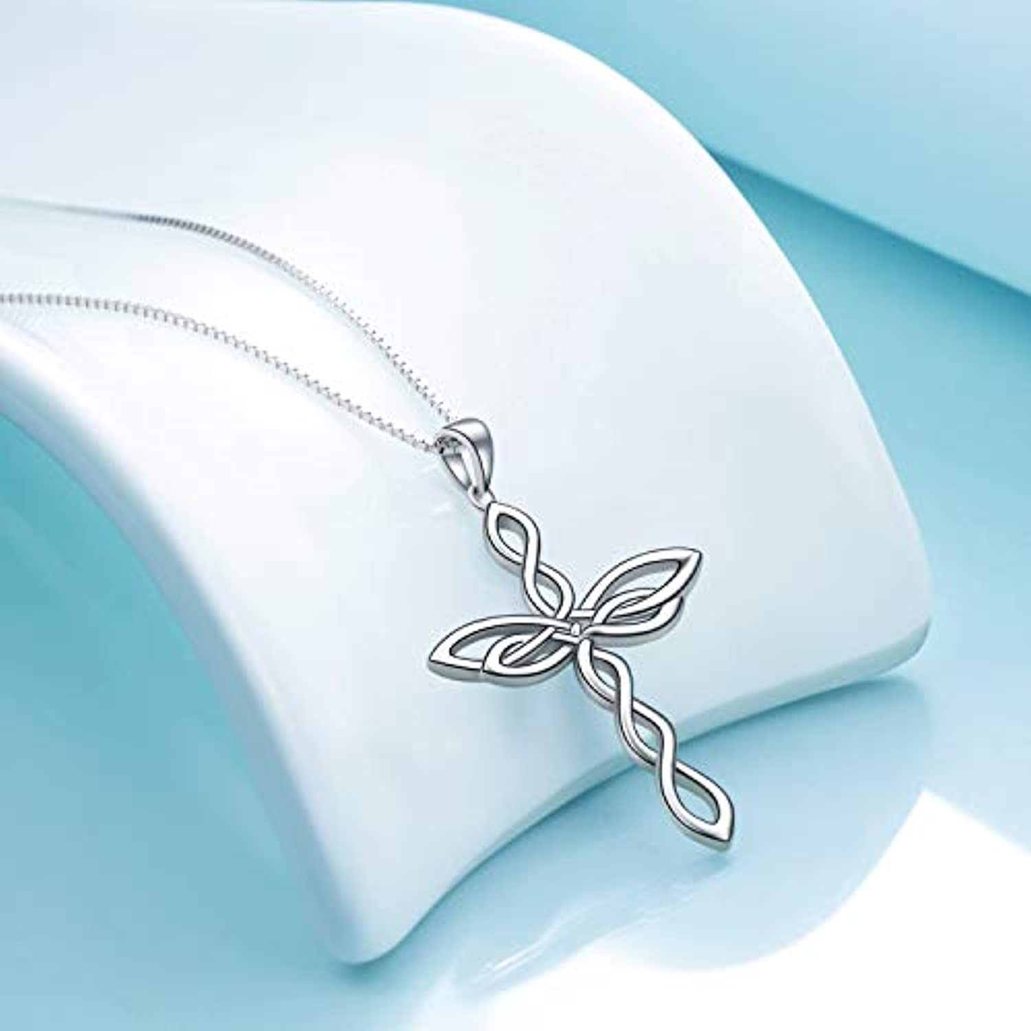 Celtic Knot Cross Necklace 925 Sterling Silver Polished Religious Infinity Love Irish Celtics jewelry for Women Girls