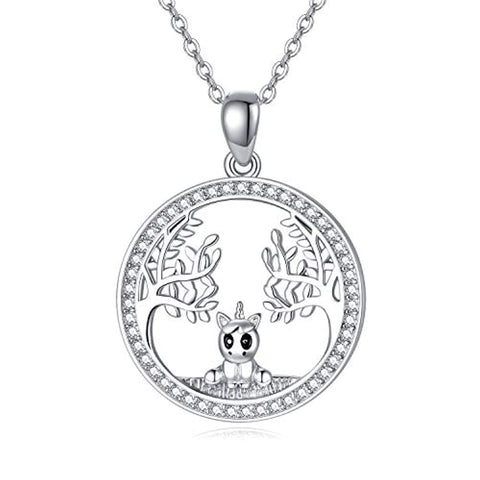 Silver Tree of Life Unicorn Necklace
