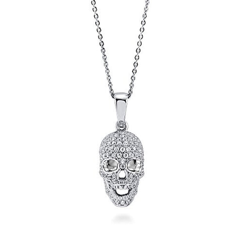 Rhodium Plated Sterling Silver Cubic Zirconia CZ Skull Bones Fashion Pendant Necklace - Halloween Jewelry