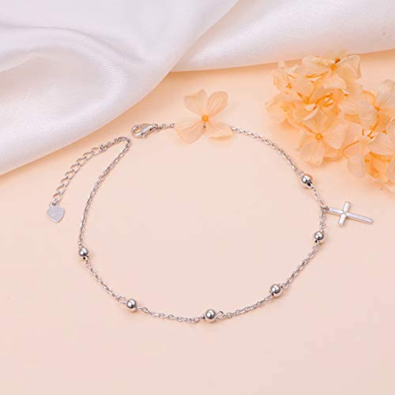 S925 Sterling Silver Cross Anklet for Women Girl Charm Adjustable Foot Ankle Bracelet Jewelry Birthday Gift