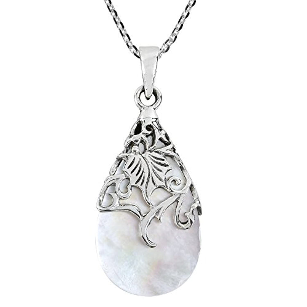 Silver Teardrop Mother of Pearl Necklace