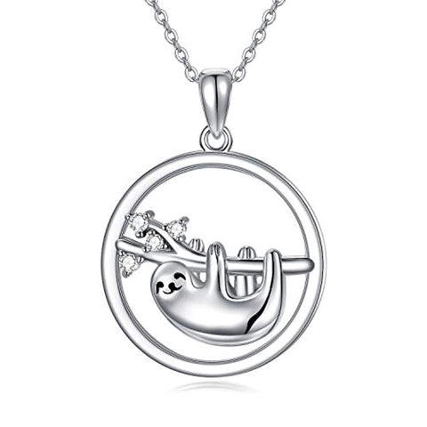 Silver Sloth hangs happily on the branch Cute Animal Necklace