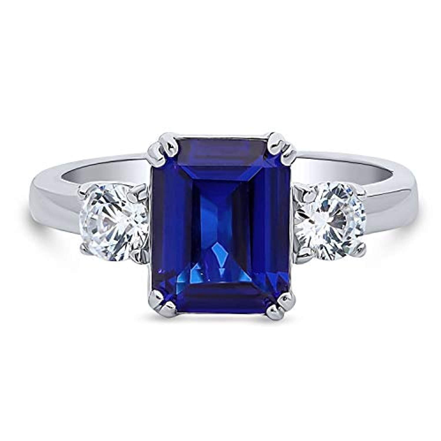 Rhodium Plated Sterling Silver Simulated Blue Sapphire Emerald Cut Cubic Zirconia CZ 3-Stone Anniversary Promise Engagement Ring