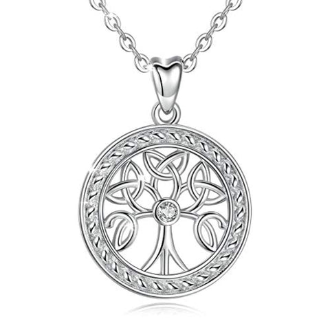 Silver  Celtic Knot Tree of Life  Necklace Pendant