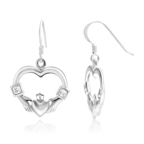 925 Sterling Silver Celtic Claddagh Friendship and Love Symbol Heart Shaped Dangle  Earrings