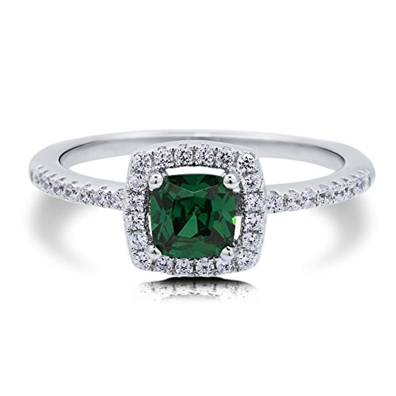 Rhodium Plated Sterling Silver Simulated Emerald Cushion Cut Cubic Zirconia CZ Halo Promise Engagement Ring