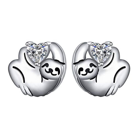 Cute Animal Sloth Heart Earrings