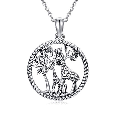Silver Giraffe Necklace Pendants