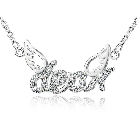 Hot Selling 925 Sterling Silver Zircon Angel Wings And Alphabet Necklaces