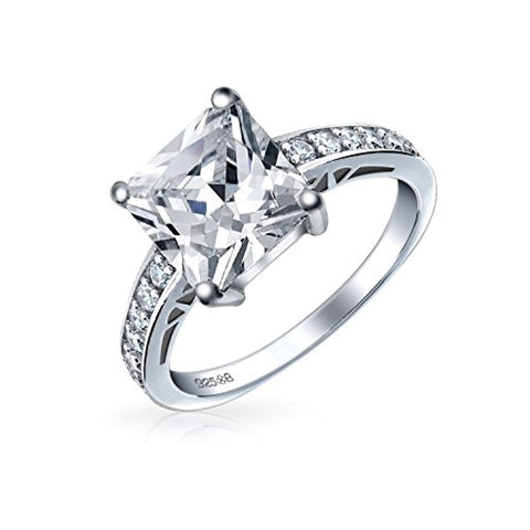 Simple 2.5CT Cubic Zirconia Brilliant Princess Cut AAA CZ Solitaire Engagement Ring Thin Pave Band 925 Sterling Silver