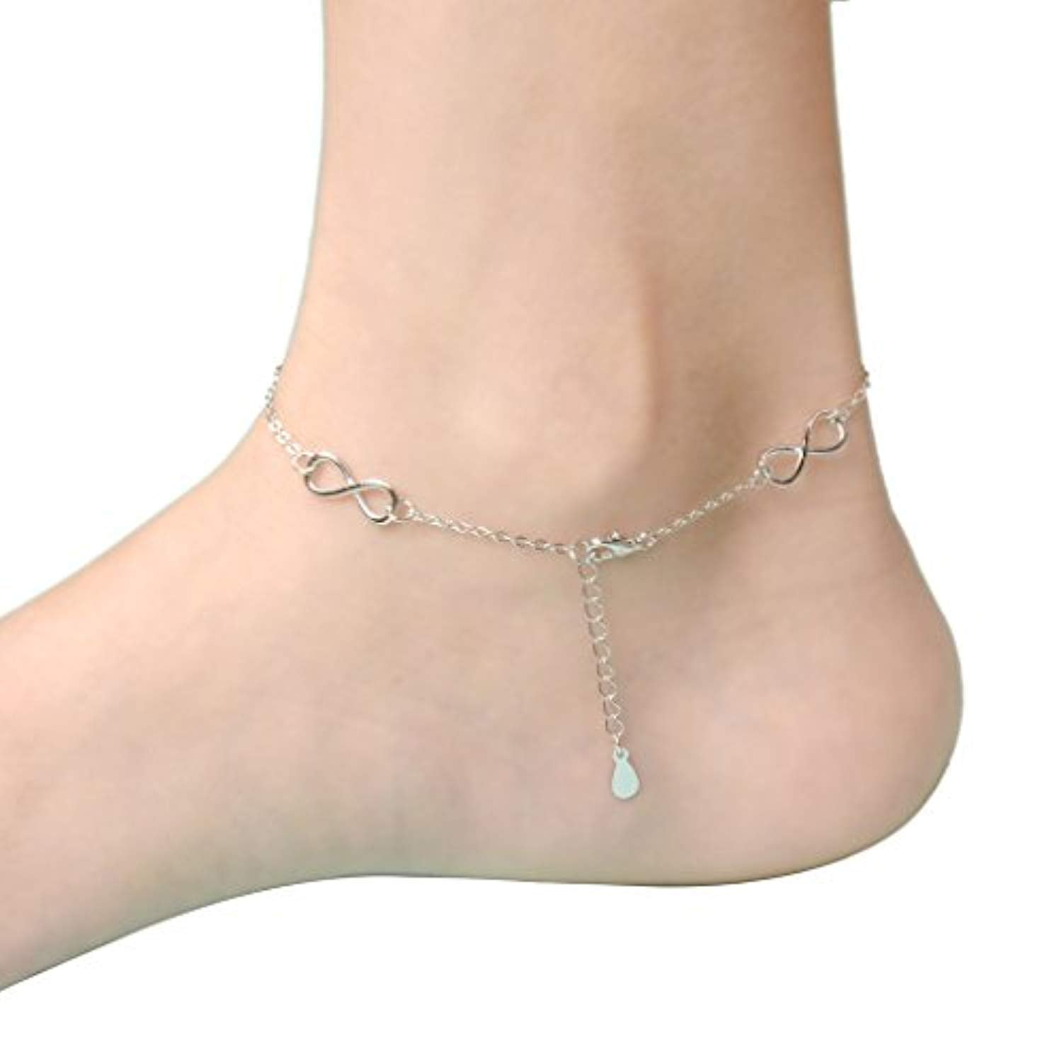 Women's 925 Sterling Silver Gorgeous Figure 8 Infinity Adjustable Anklet Link