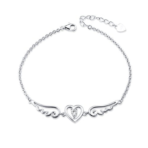 Angel Wing Charm Cubic Zirconia Resizable Bracelets