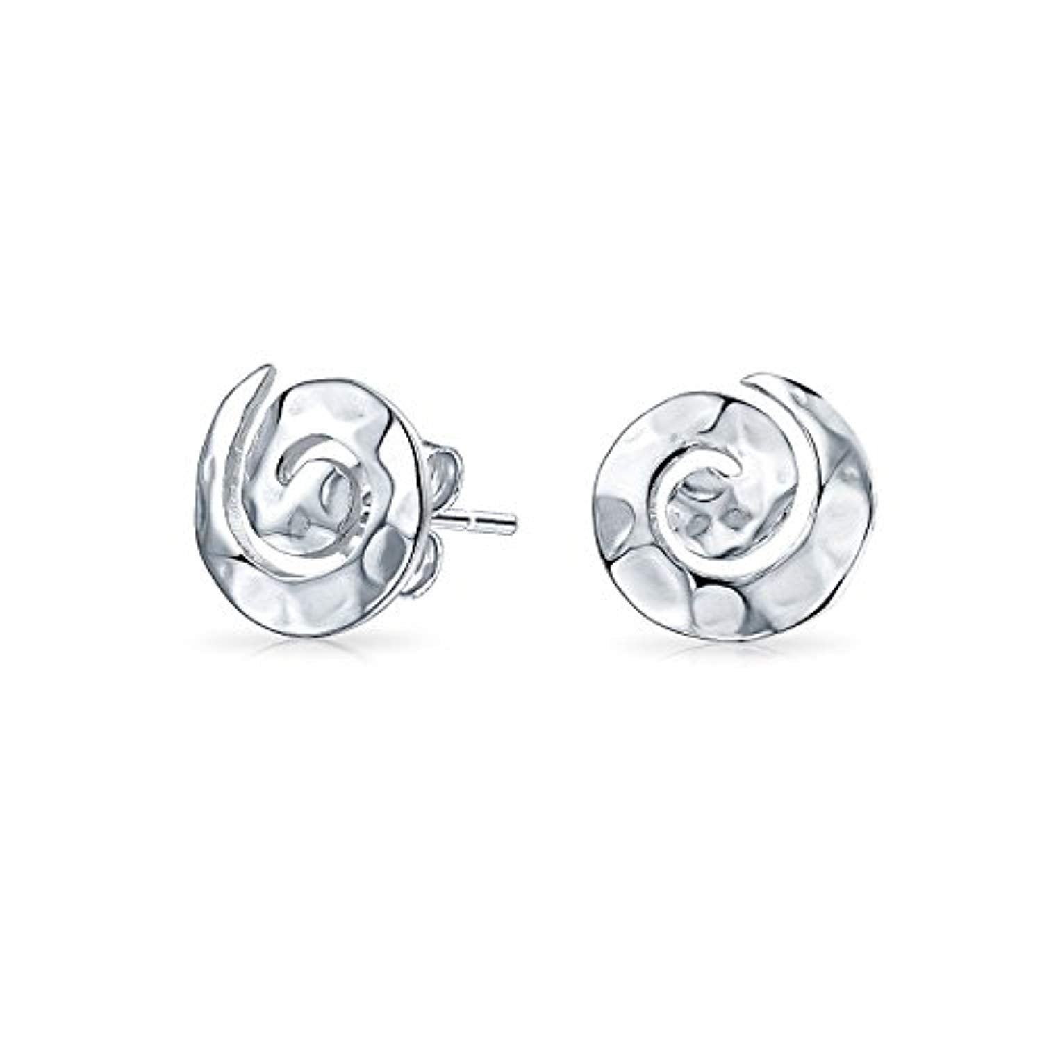Hammered Geometric Round Spiral Swirl Small Stud Earrings For Women For Teen 925 Sterling Silver