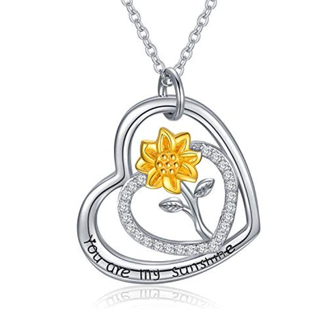 Silver Double Heart Sunflower Necklace