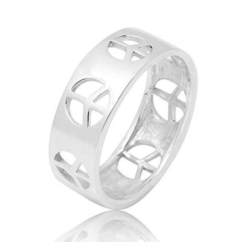 925 Sterling Silver Cut Open Peace Sign Symbol Polished Finish Unisex Band Ring
