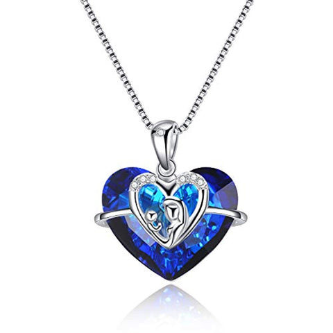 Silver Mother Child Love Necklace with Blue Heart Swarovski Crystals