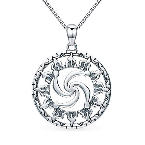 TANGPOET 925 Sterling Silver Viking Sun Pendant Necklace Viking Jewelry for Women and Men