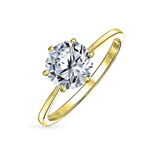 Simple 2.5CT 6 Prong Brilliant Cut AAA CZ Solitaire Engagement Ring Thin Band 14K Gold Plated 925 Sterling Silver