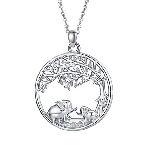Silver Elephant Tree Of Life  Necklace