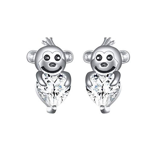 Cute Animal Monkey in Heart Stud Earrings