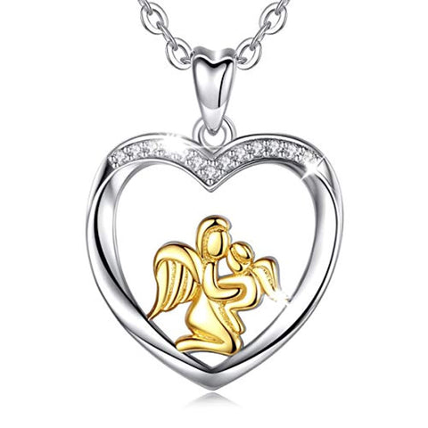 Wholesale Angel Wing Mom Hold Daughter Necklace