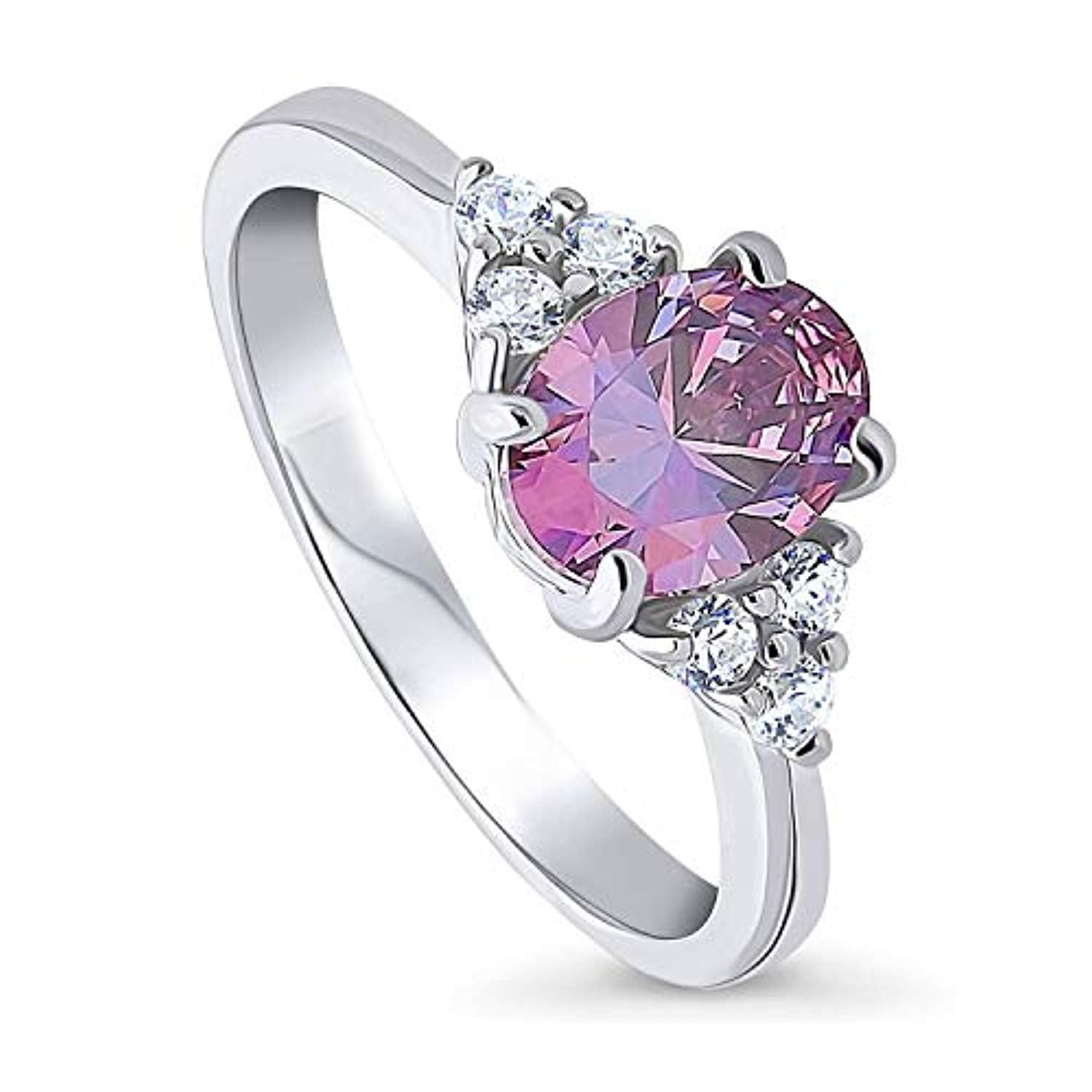 Rhodium Plated Sterling Silver Solitaire Promise Ring Made with Swarovski Zirconia Purple Oval Cut