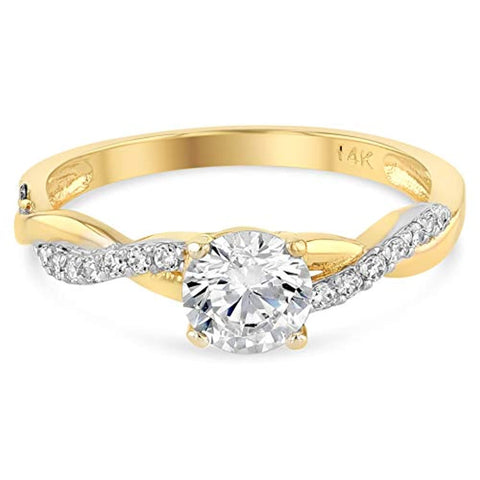 14K Yellow Gold Round with 4 Prong Vines in Wedding Engagement Ring For Ladies