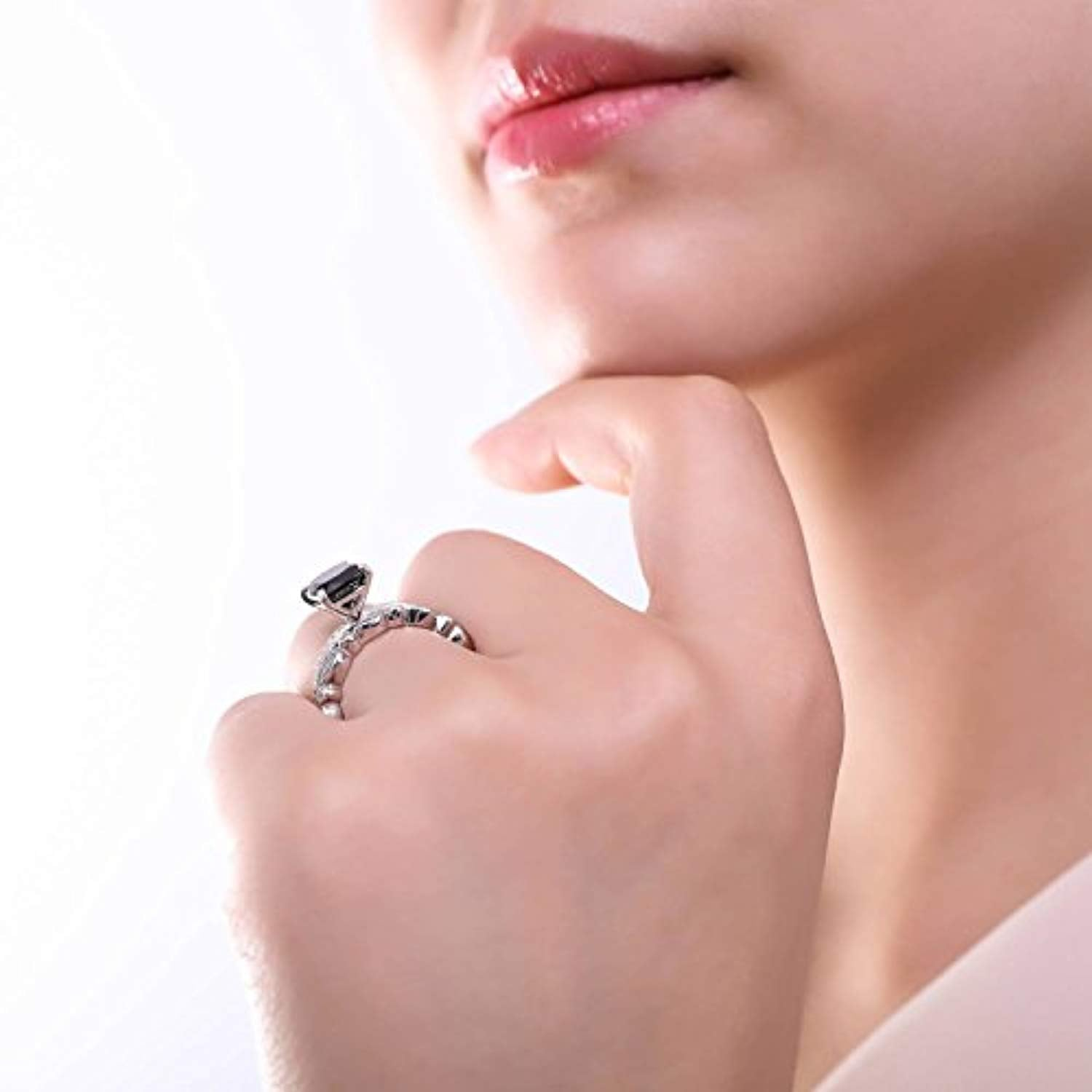 Rhodium Plated Sterling Silver Black Cushion Cut Cubic Zirconia CZ Stackable Solitaire Fashion Right Hand Ring Set