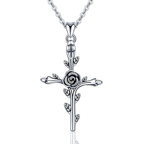 Silver Vintage Christian Rose Cross Pendant Necklace