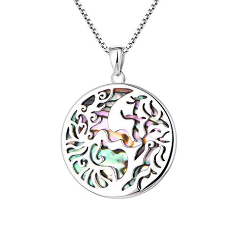 Silver Abalone Tree of Life Necklaces Pendant