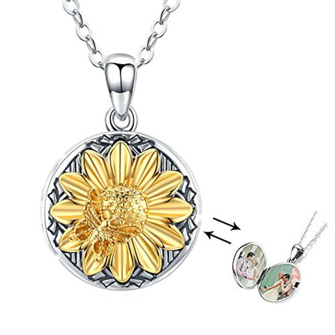 Silver Sunflower Locket Necklace