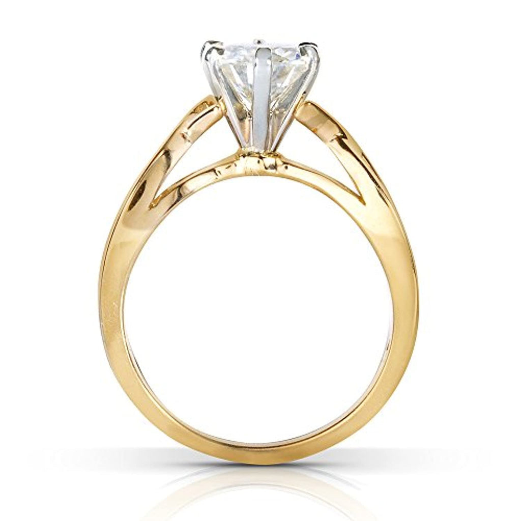 Moissanite With Unique Diamod Engagement Ring 1 CTW 14k Yellow Gold