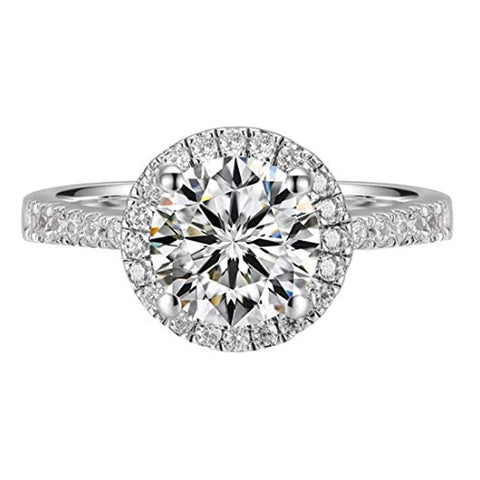 Silver Round Halo  Central Moissanite Engagement Ring