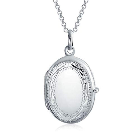 Vintage Style Etching Oval Locket Pendant 925 Sterling Silver Necklace For Women Custom Engraved