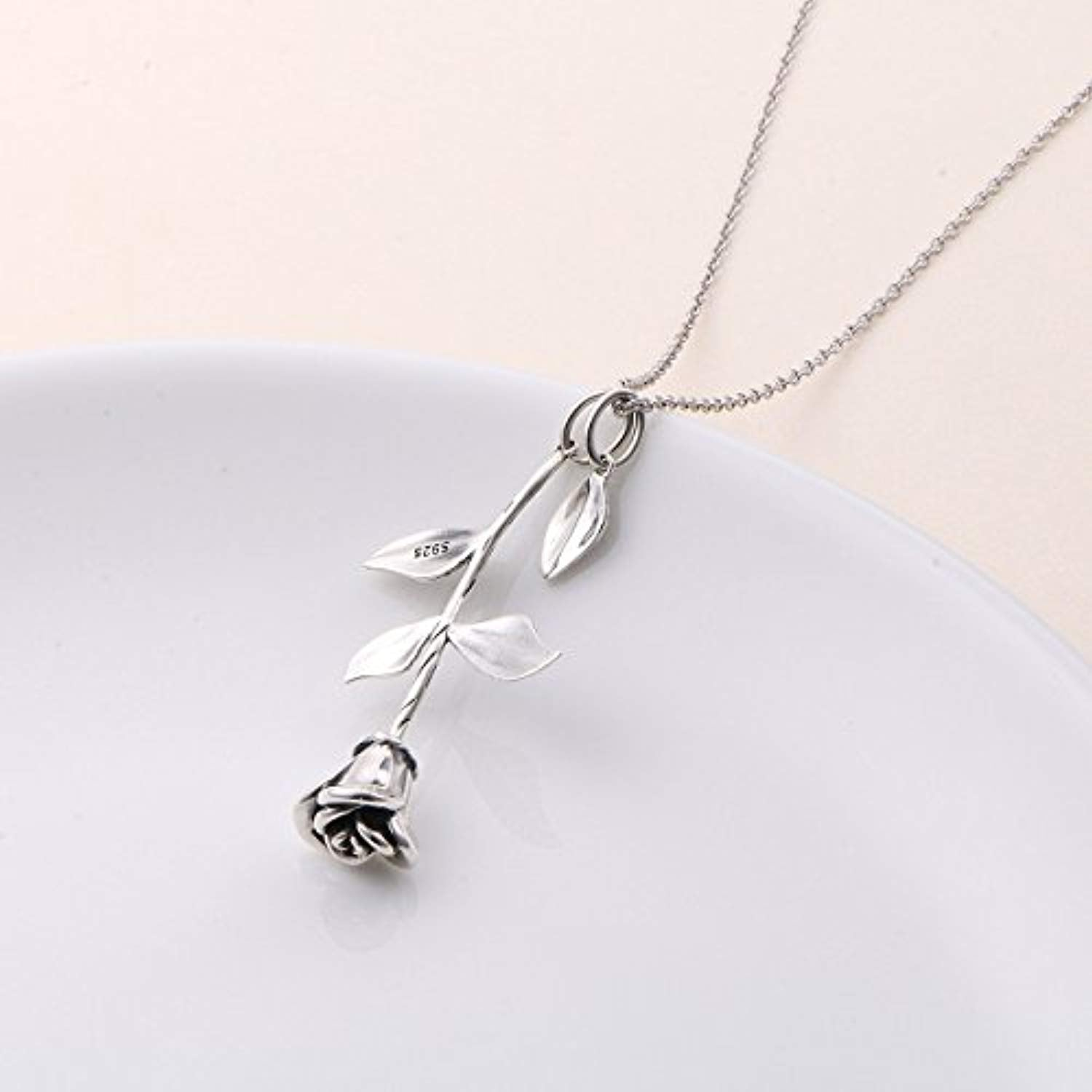 S925 Oxidized-plated Sterling Silver Rose Flower Pendant Necklace Jewelry for Women