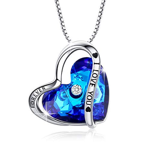 Womens Blue Crystal Necklace Pendant Blue Heart Ocean Necklace Jewelry Gifts for Her Ocean Heart Necklace I Love You Pendant for Girls Friend Mother Sister.Birthday Annoversary Necklace Gifts